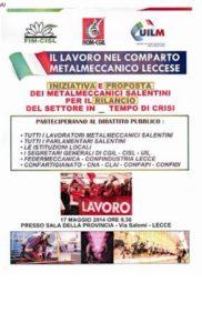 Dibattito pubblico sulla crisi Fim Cisl, Fiom Cgil e Uilm Uil della provincia di Lecce – 17 maggio 2014 a Lecce