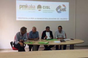 La Cisl di Lecce sigla il Protocollo su Reindustrializzazione del Salento con Uil e Pmi Italia