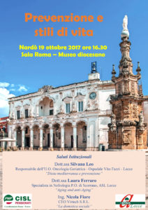 """Coordinamento donne Fnp Cisl e Anteas di Lecce organizzano """"Prevenzione e stili di vita"""" a Nardò"""