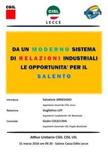 Attivo unitario di Cgil Cisl e Uil giovedì 31 marzo a Lecce