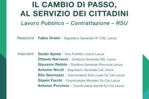 """Cisl e Fp Cisl Lecce domani convegno """"Il cambio di passo, al servizio del cittadino. Lavoro pubblico, contrattazione e RSU"""