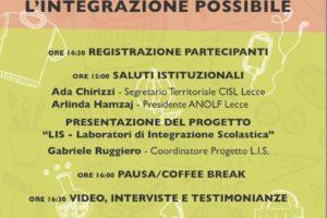 Laboratori scolastici: l'integrazione possibile evento finale del progetto LIS di Anolf Lecce