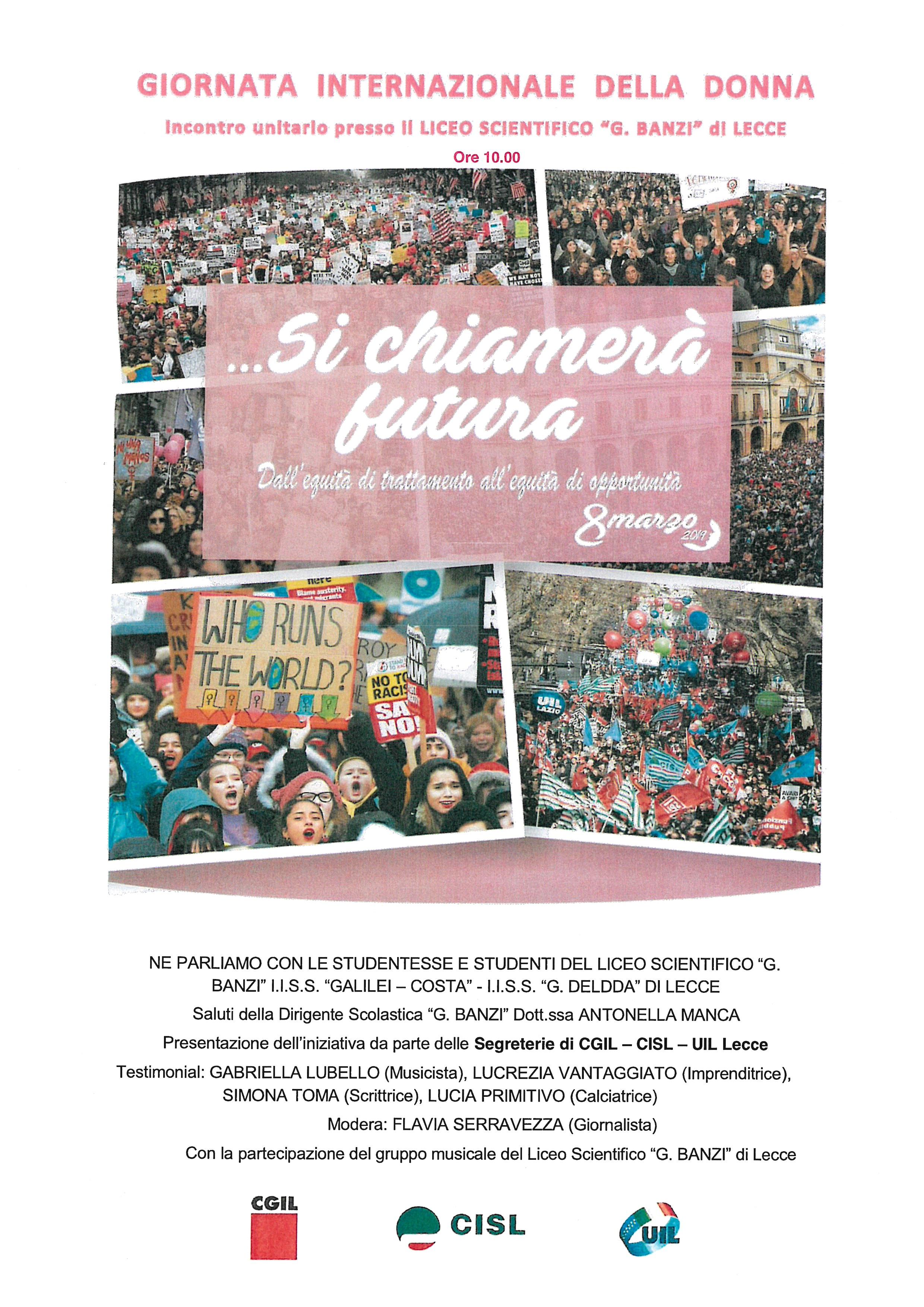 """Cgil, Cisl e Uil di Lecce per la Giornata internazionale della donna incontro unitario con gli studenti presso il liceo """"Banzi"""" di Lecce"""
