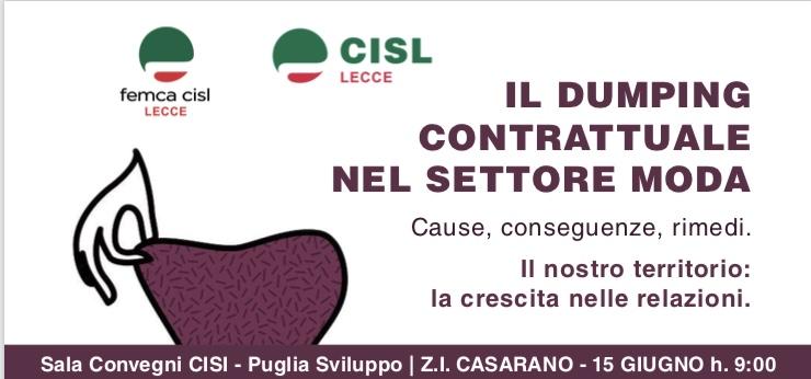 Il dumping contrattuale nel settore moda Cisl e Femca di Lecce domani a Casarano