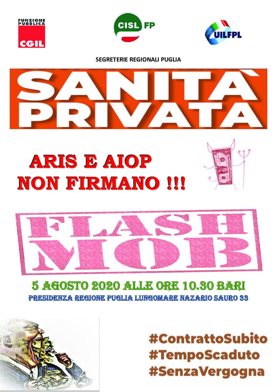 Vertenza Sanità Privata CCNL AIOP-ARIS – Flash Mob di FP CGIL, CISL FP e UIL FPL Puglia